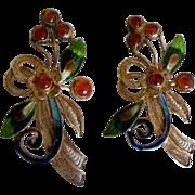 Beautiful Vintage Enamel Gold Wash Sterling Pierced Earrings