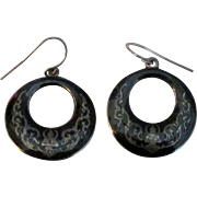 Vintage Siam Niello Sterling Pierced Earrings