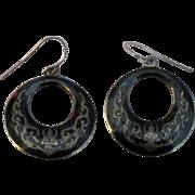Vintage Siam Niello Sterling Pierced Earrings