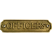 Vintage Brass Officers Sign Plate