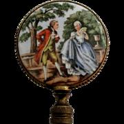 Large Vintage Porcelain Brass Romantic Couple Finial