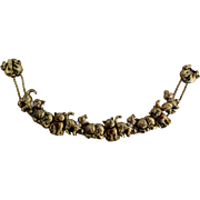 Vintage Gold Tone Rhinestone Cat Slide Bracelet