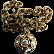 Vintage Signed Chunky AB Rhinestone Rondelle Pendant  Necklace