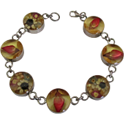 Vintage Sterling Resin Encased Flowers Bracelet