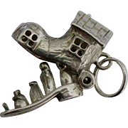 Vintage Sterling Old Woman in the Shoe Mechanical Charm