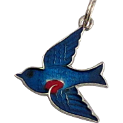 Vintage Enamel Sterling Blue Bird of Happiness Charm