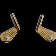 14K YG Golf Club Pearl Pierced Earrings