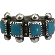 NA Zuni Sterling Turquoise Ring- Size 5 1/4