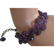 Stunning Sterling Faceted Amethyst Bead Bracelet