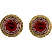 Vintage Italian Micro Mosaic Earrings with Red Roses