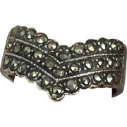 Sparkling Marcasite Sterling Chevron Ring- Size 6 1/2