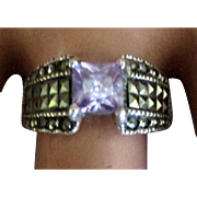 Sparkling Sterling Amethyst Ring with Marcasite- Size 8 1/2