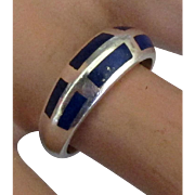 Sleek Inlaid Lapis Sterling Ring- Size 8 1/2
