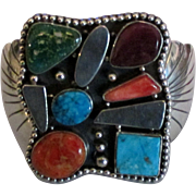 Stunning Bold Estate Signed Sterling Gemstone Bracelet