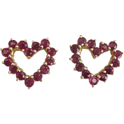 Sweet 14K YG Ruby Heart Pierced Earrings