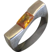 Estate Modernist Sterling Ring with Citrine