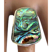 Stunning Vintage Sterling Abalone Adjustable Ring