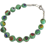 "Italian ""Evil Eye"" Glass Bead Sterling Bracelet"