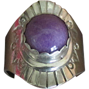 Vintage Signed Navajo Sterling Purple Agate Ring- Size 7 1/4