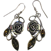 Estate Sterling Roses and Amber Pierced Earrings