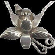 Vintage Eagle Mark Taxco Sterling Orchid Necklace