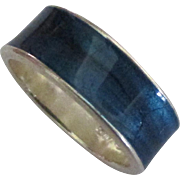Italian Milor Guilloche Enamel Sterling Ring- Size 7