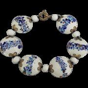 Vintage Hand Painted Porcelain Bead Bracelet
