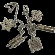 Vintage Sterling Judaic Religious Symbols Charm Bracelet