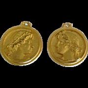 Estate Bijoux Terner Faux Coin Earrings