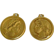 Estate Bijoux Terner Faux Coin Earrings