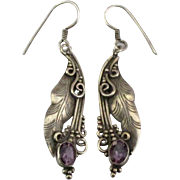 Ornate Sterling Leaves with Amethyst Pierced Earrings