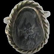 Vintage Navajo Sterling Deep Blue Agate Ring