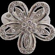 Fancy Sterling CZ Flower Ring- Size 5 3/4