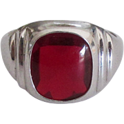 Sleek Sterling Ring with Ruby Red Glass Stone- Size 8