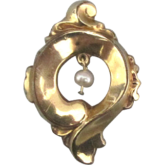 Edwardian Gold Filled Brooch with Pearl Dangle