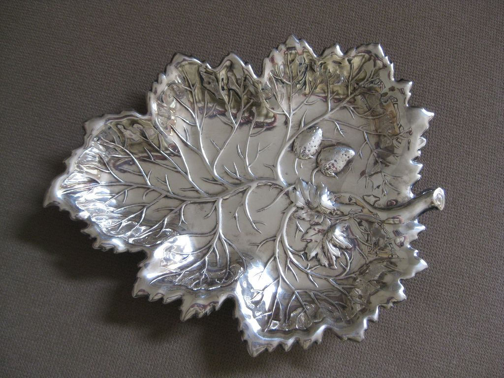 Gorgeous Vintage Leaf and Strawberries Crescent Silverware Mft. Co. Bowl