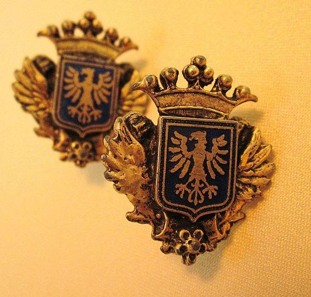 Vintage Enamel Crest Screw On Earrings