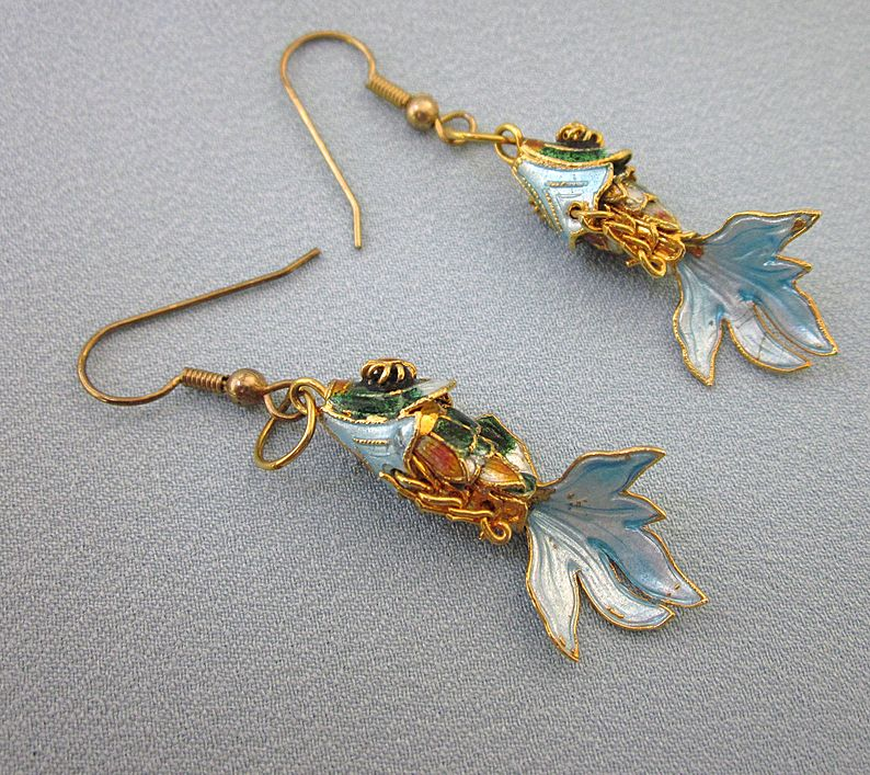 Gorgeous Enamel Jointed Dangling Fish Earrings - For Pierced Ears