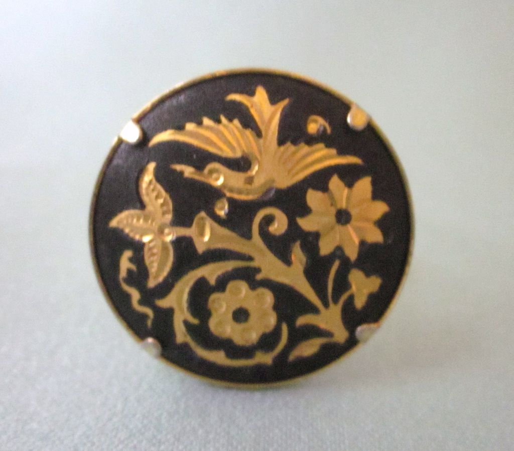 Vintage Damascene Adjustable Ring - Flowers and Bird