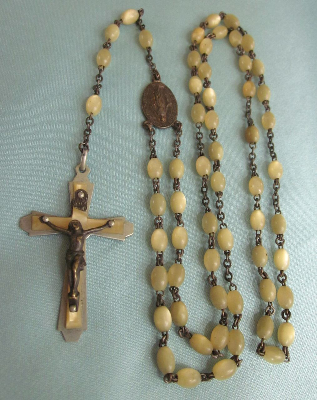 Vintage Rosary, France, With Pale Gold Beads