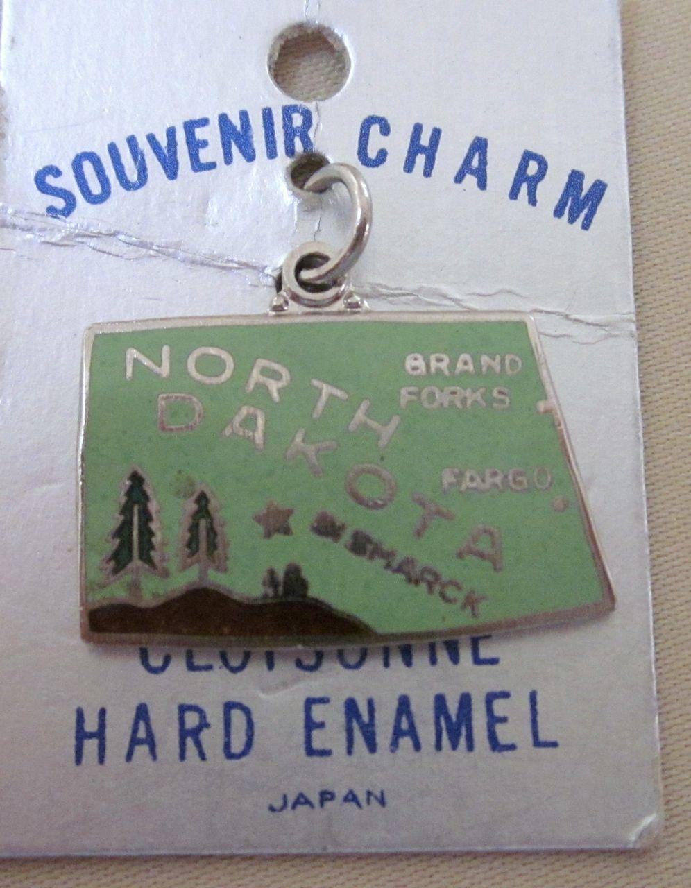Vintage Enamel Cloisonne North Dakota State Charm on Original Card