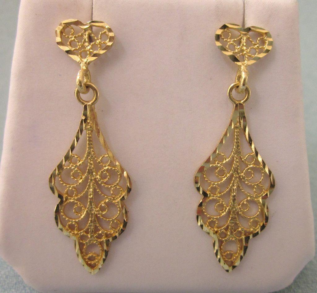 Delicate 14K Gold Filigree Pierced Dangle Earrings - Red Tag Sale ...