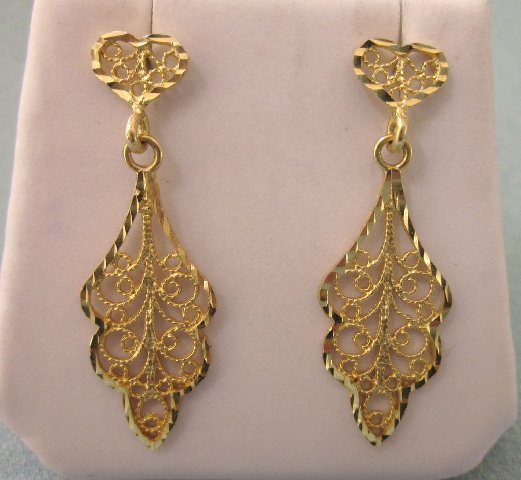 Delicate 14k Gold Filigree Pierced Dangle Earrings Red Tag Item Sold Ruby Lane