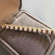 Vintage Gold Filled Bobby Pin With White Beads