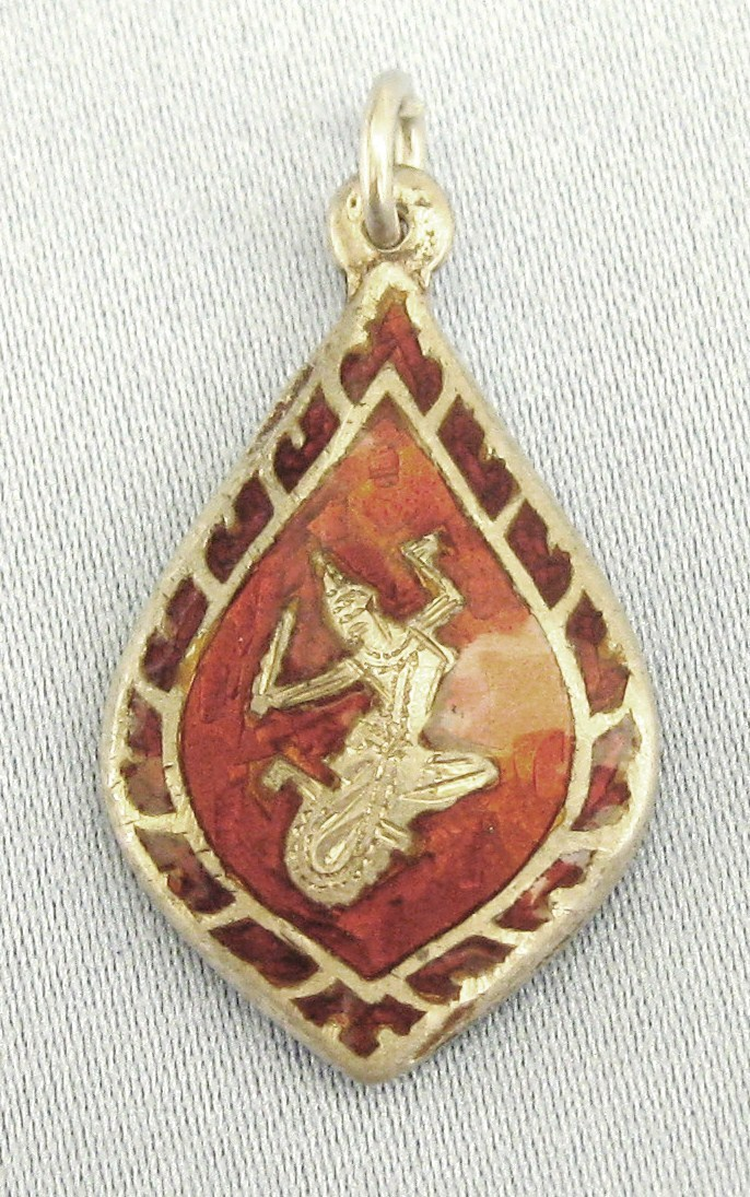 Lovely siam niello guilloche red enamel sterling dancer for Jewelry making classes san diego