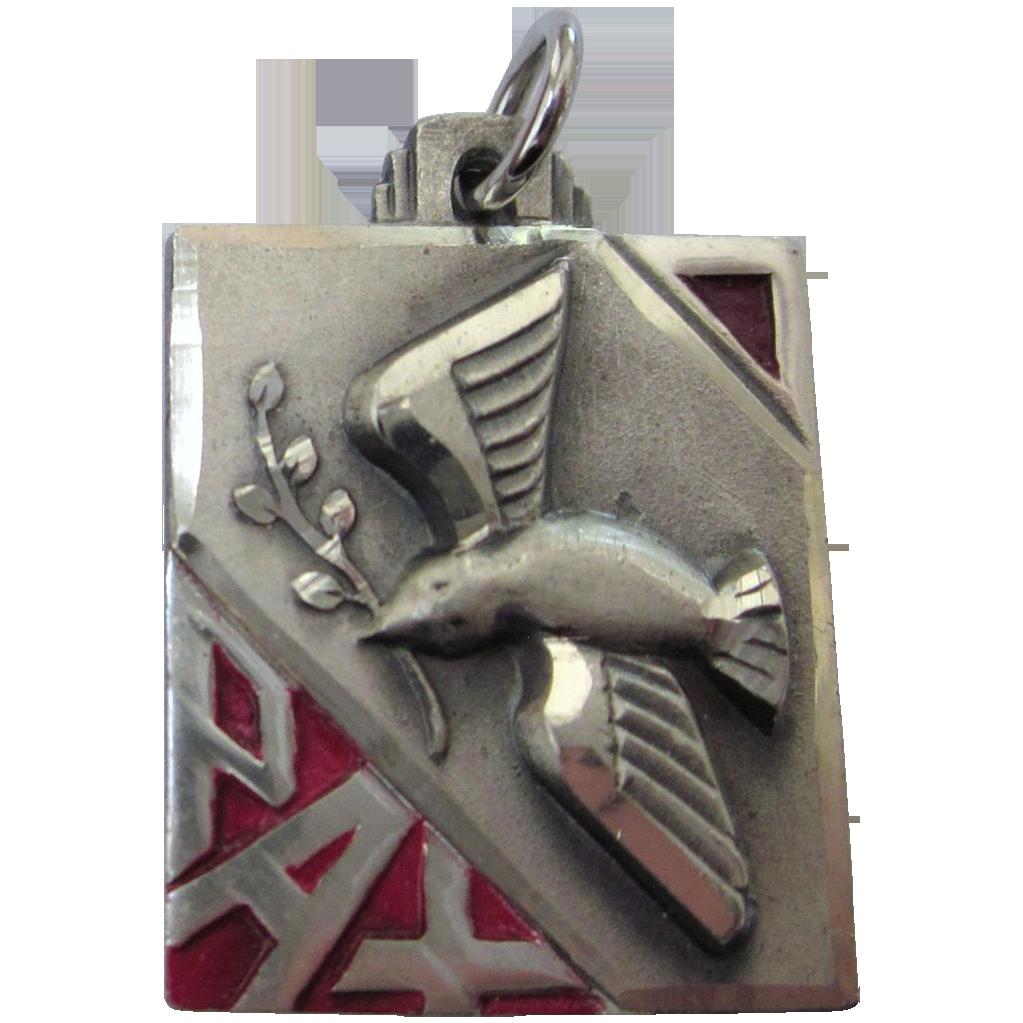 Vintage Chapel Sterling Enamel Pax Medal Pendant Sold On