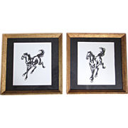 Vintage Pair of Silhouette Paper Cut Out Horse Pictures, Framed