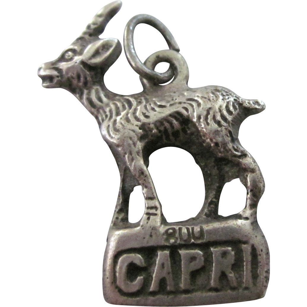 vintage 800 silver goat charm from rubylane sold on