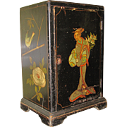 Small Black Cabinet with Oriental Decoration