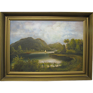 Early Oil on Canvas of Sailboat on Lake